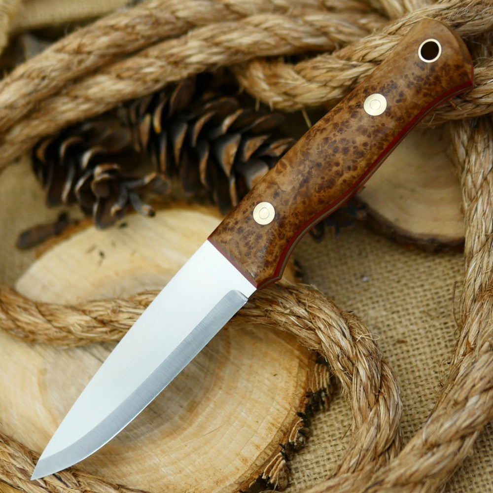 Classic: Black Ash Burl & Red Linen - Adventure Sworn Bushcraft Co.