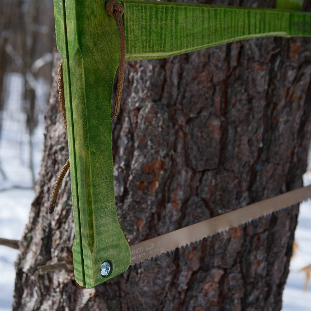 Custom Bucksaw: Spring Green Curly Maple - Adventure Sworn Bushcraft Co.
