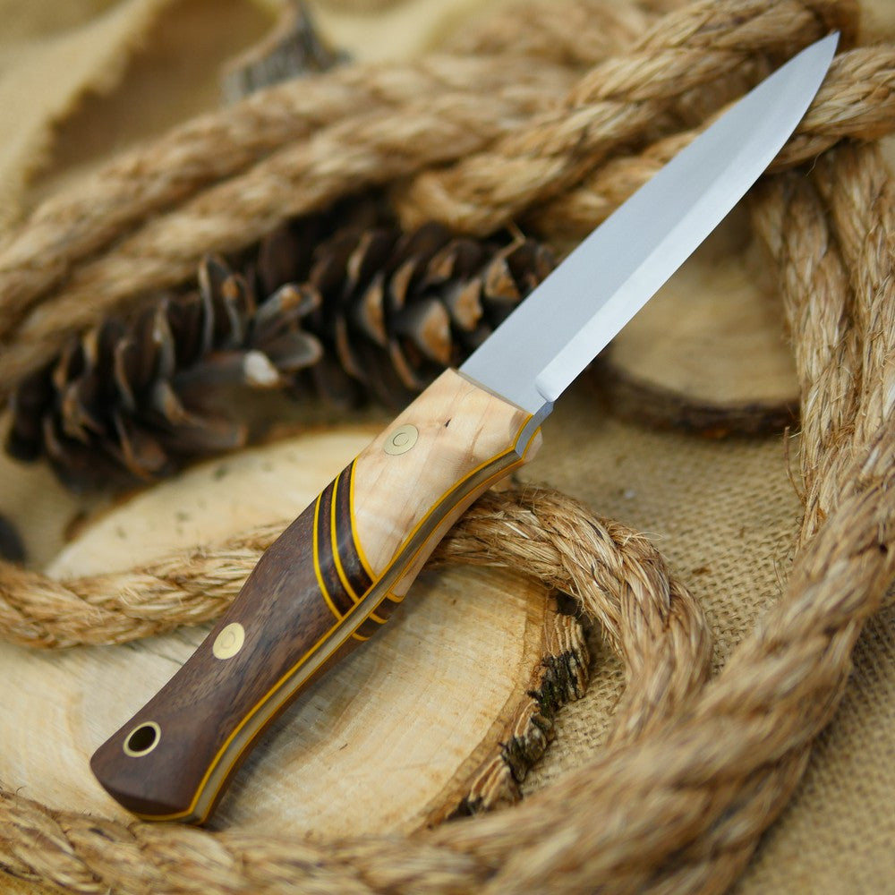 Adventure Sworn Classic Bushcraft Knife with walnut and curly maple handle scales.
