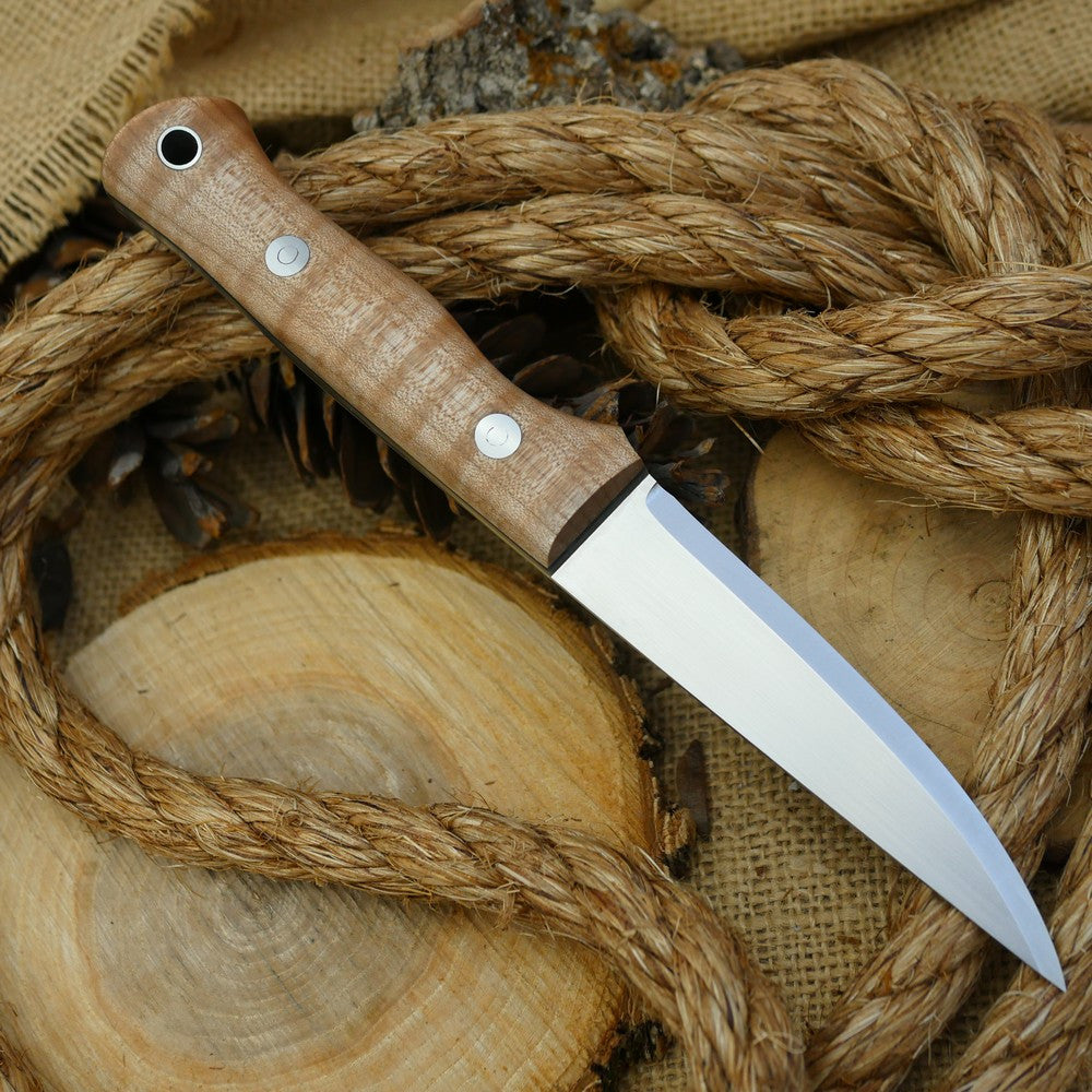 A Voyageur bushcraft knife with curly maple handle scales and double liners