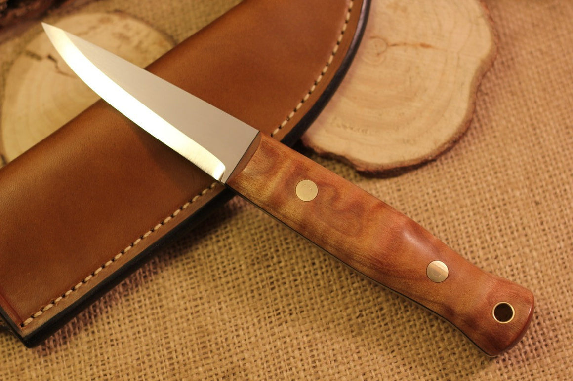 Woodcrafter Bushcraft Knife, Curly Maple Handle Scales