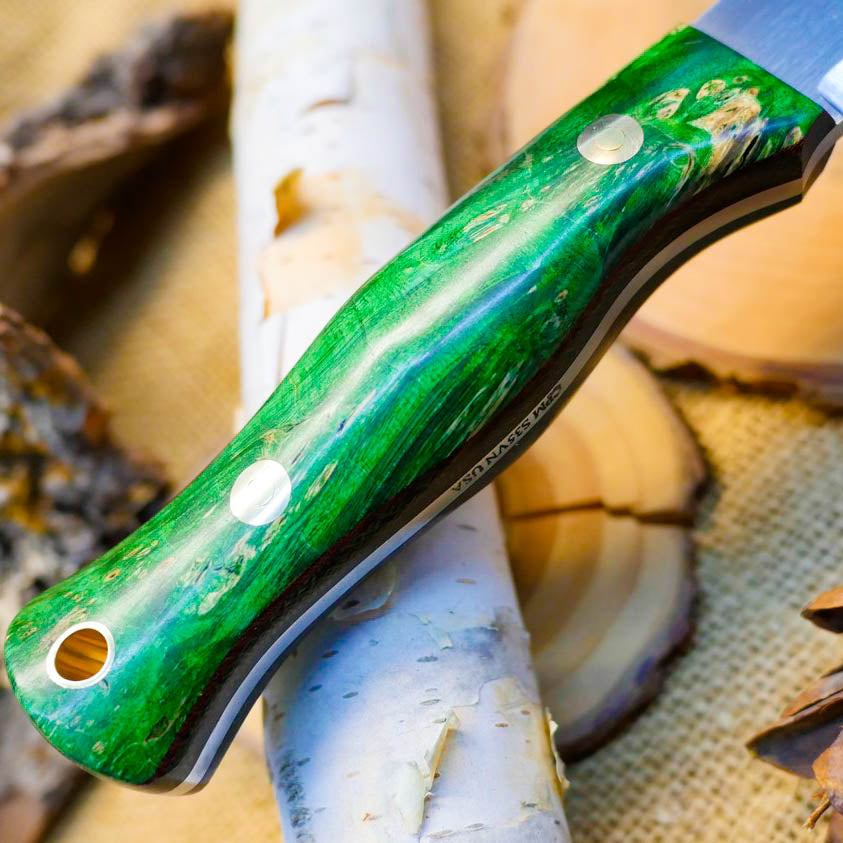 Explorer: CPM S35VN, Green Box Elder Burl & Double Liners