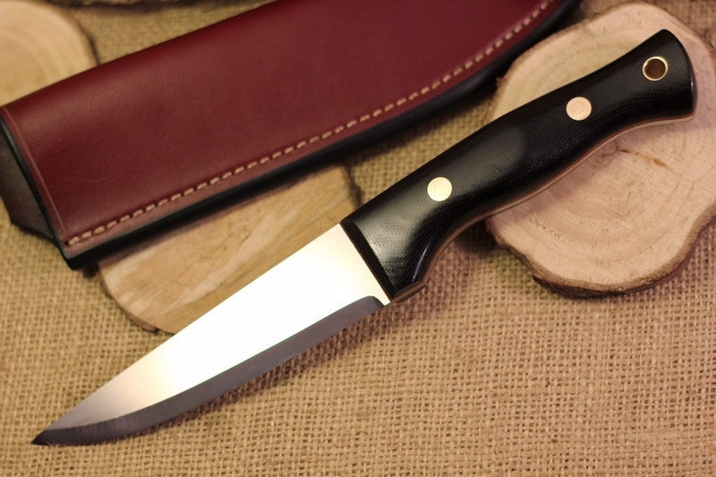 Tradesman Bushcraft Knife, Black Canvas Micarta Handle Scales