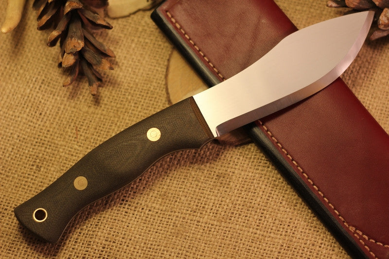 Guide Bushcraft Knife, Textured Green Canvas Micarta Handle Scales