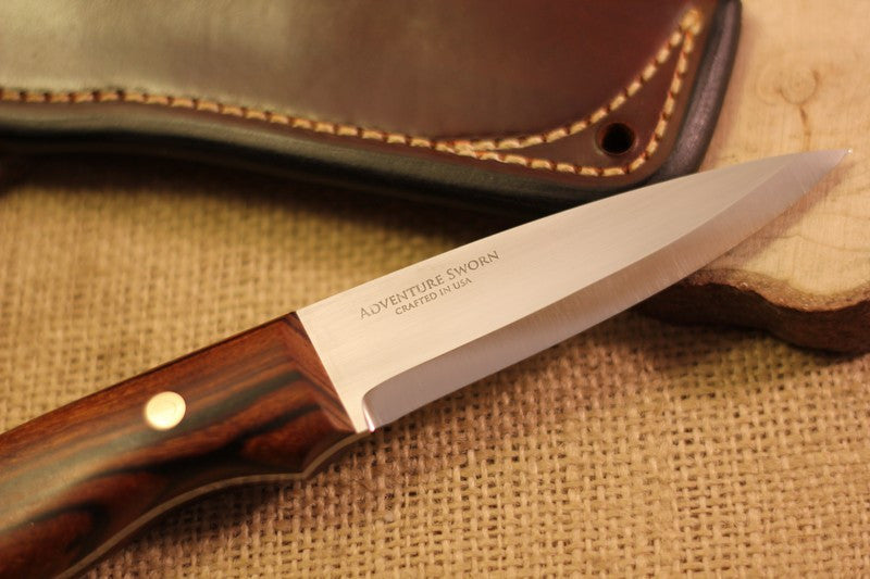 Wayfarer Bushcraft Knife, Arizona Desert Ironwood Handle Scales