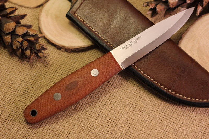 Woodsman Bushcraft Knife, textured brown natural canvas micarta handle scales