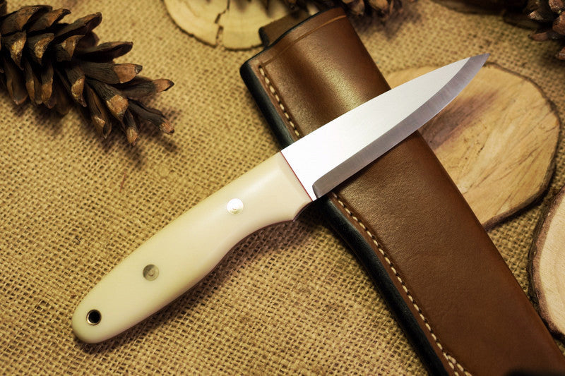 Wayfarer Bushcraft Knife, White G10 Handle Scales