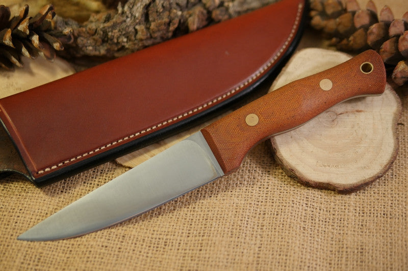 Tradesman Bushcraft Knife, Natural Brown Canvas Micarta Handle Scales