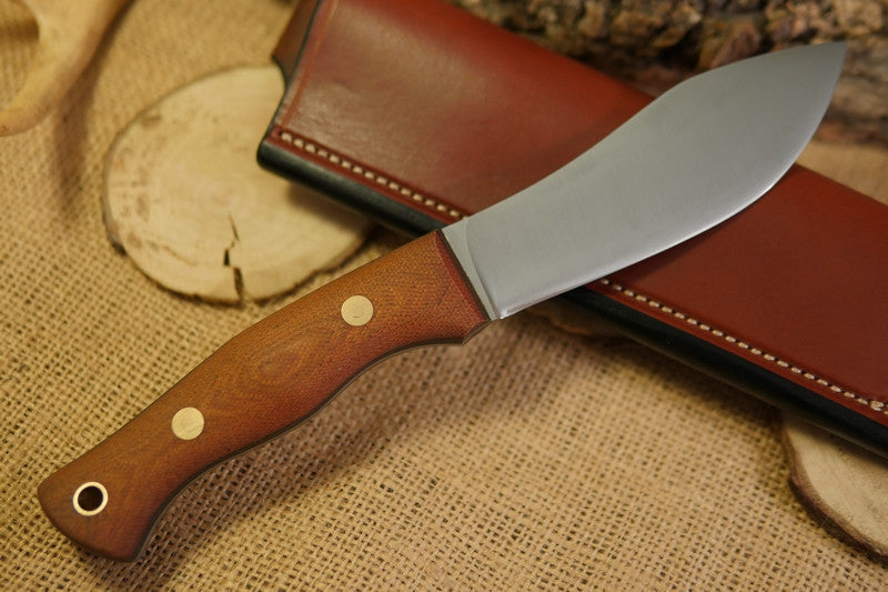 Guide Bushcraft Knife, Textured Natural Brown Canvas Micarta Handle Scales