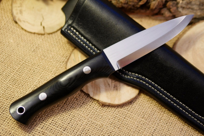 Classic Bushcraft Knife, Black Canvas Micarta
