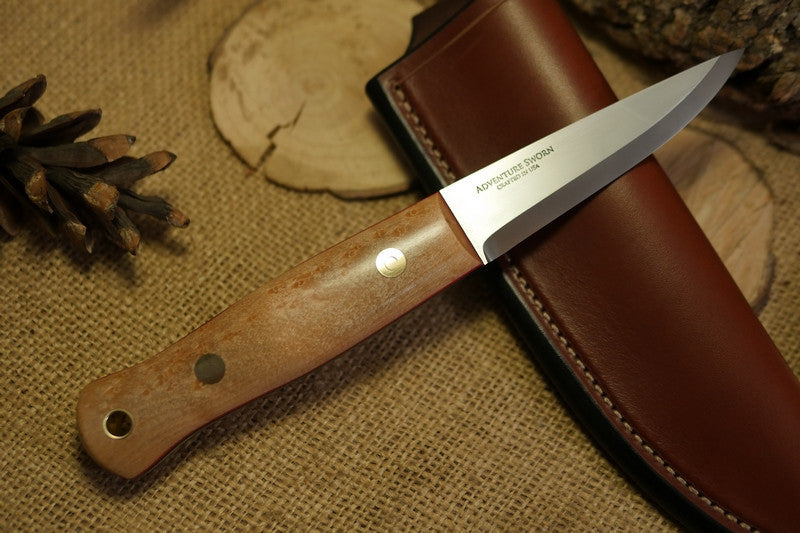 Woodcrafter Bushcraft Knife, Birdseye Maple Handle Scales