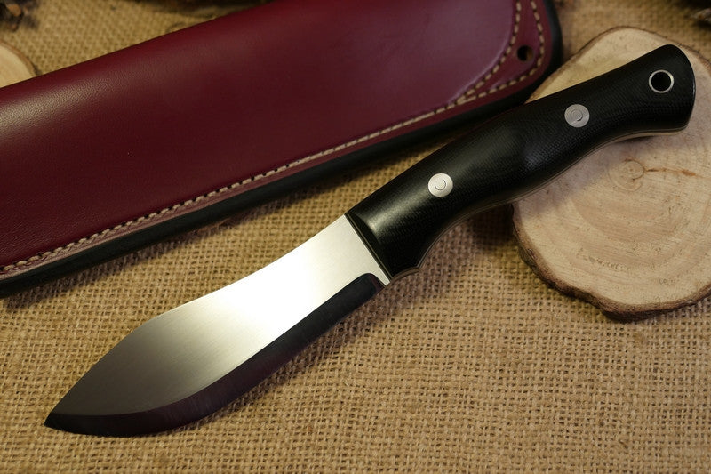Guide Bushcraft Knife, Black Canvas Micarta Handle Scales