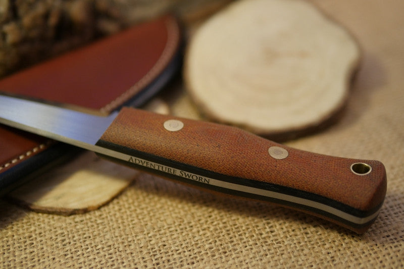 Woodcrafter Bushcraft Knife, Textured Natural Brown Canvas Micarta Handle Scales