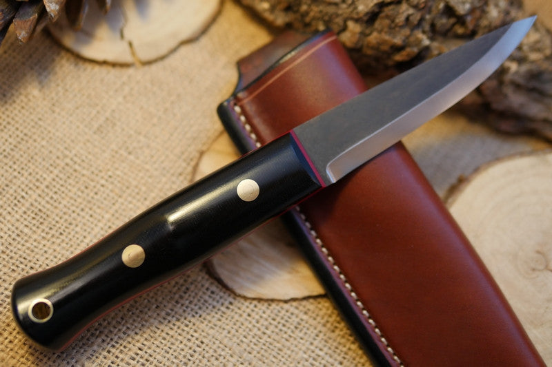 Woodcrafter Bushcraft Knife, Black Canvas Micarta Handle Scales