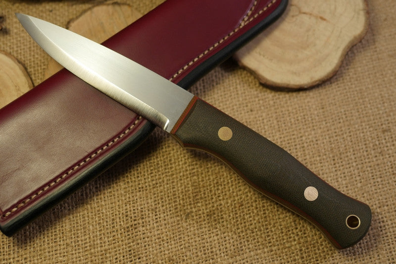Mountaineer bushcraft knife; textured green canvas micarta