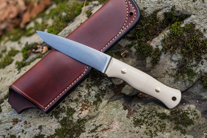 Mountaineer bushcraft knife; ivory paper micarta