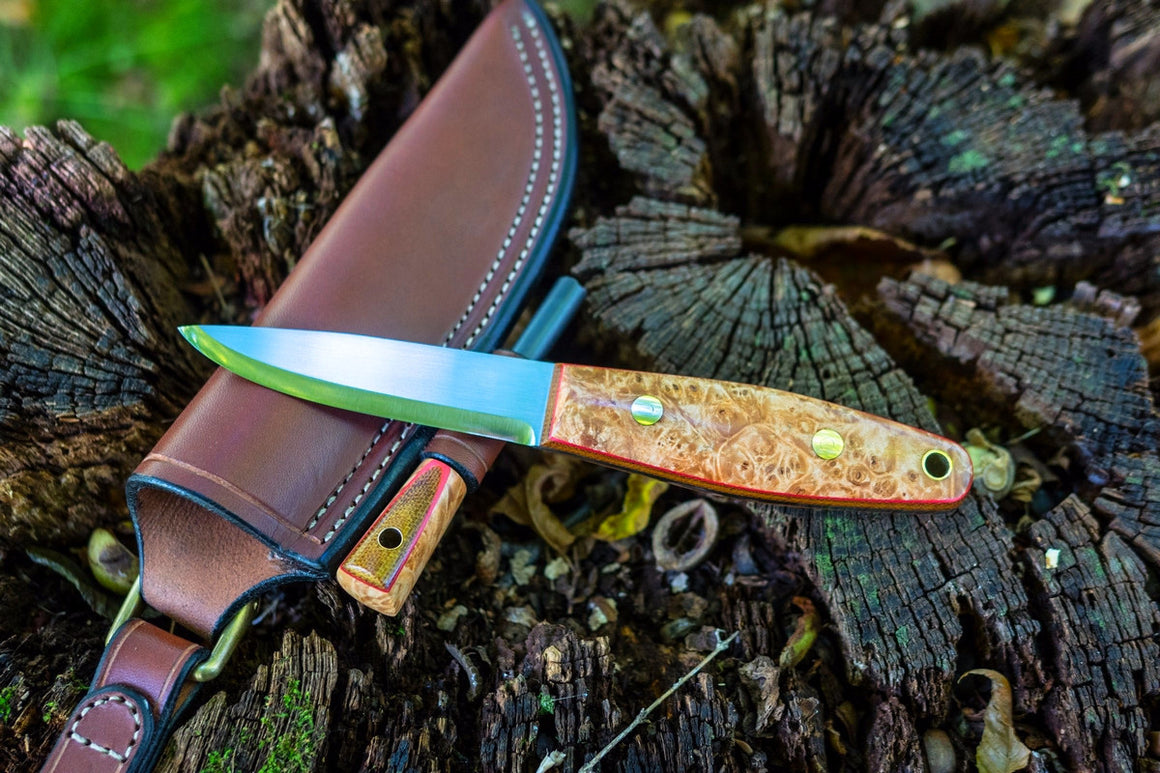 Woodsman Bushcraft Knife, maple burl handle scales, natural brown canvas micarta liners, red secondary liner