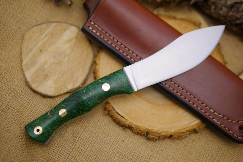 "Guide Bushcraft Knife, Green Box Elder Burl Handle Scales, 1/8"" Green Glow-in-the-dark Liners"