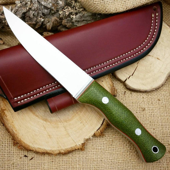 Tradesman Bushcraft Knife, Emerald Green Burlap Micarta
