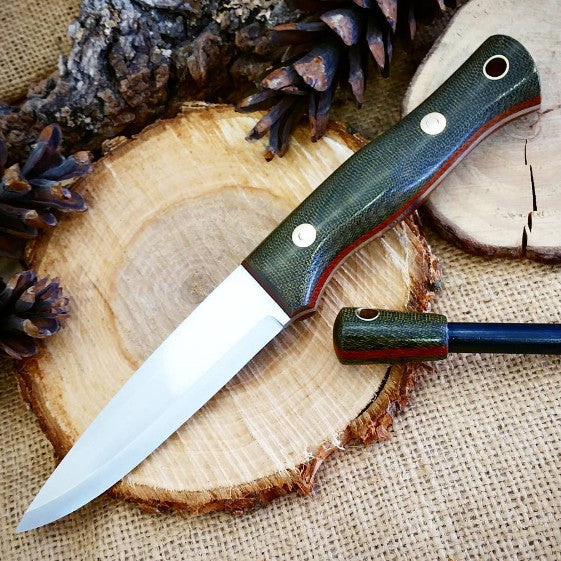 Mountaineer bushcraft knife; Green Canvas Micarta