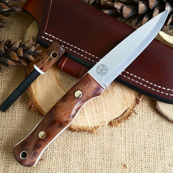 Mountaineer bushcraft knife; Redwood Burl