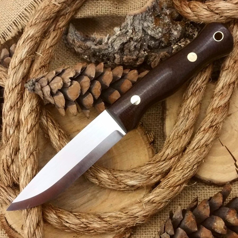 Explorer: 5/32 CPM 3V, Dark Brown Burlap & Green Canvas Micarta - Adventure Sworn Bushcraft Co.