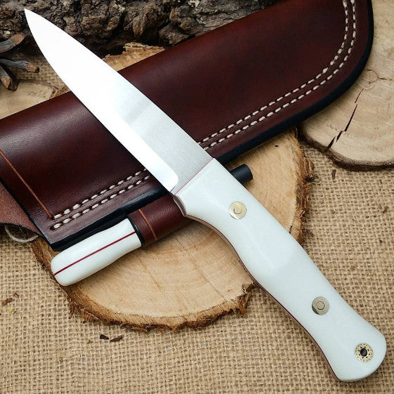 Mountaineer bushcraft knife; White G10