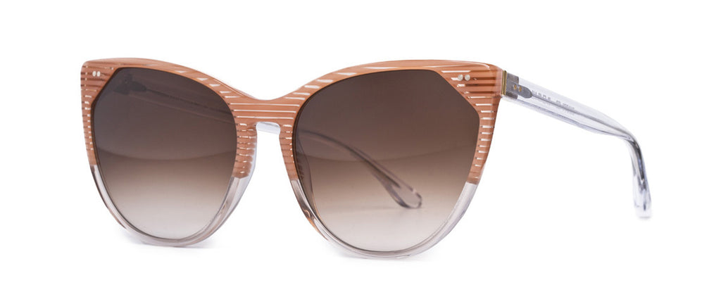 Thierry Lasry Swappy 450 Pink Stripes and Clear / Brown Gradient 61-17-142 Sunglasses