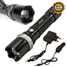 Tactical Flashlight Heavy Duty 3W Rechargeable Police Heavy Duty Adjustable Beam