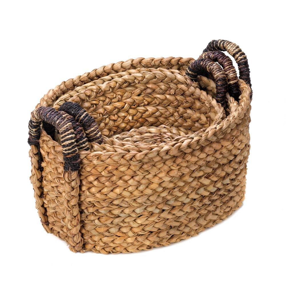 NESTING BASKETS RUSTIC WOVEN HOME ORGANIZING - 3 PC. SET