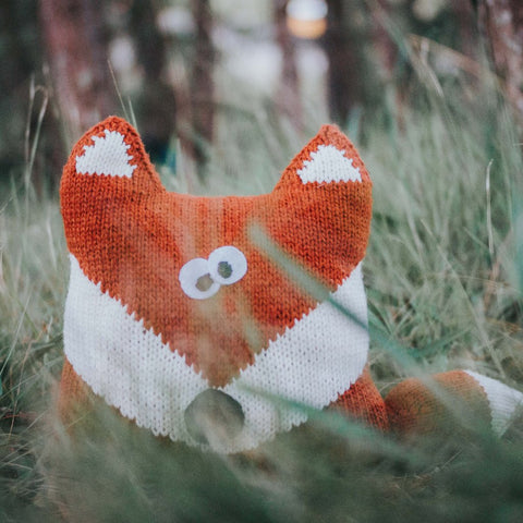 Fox Hand Knit Pillow
