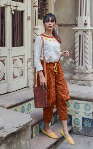 Clemonte Boho vibes : Khadi yellow tassel top with brown khadi linen pants - set of two