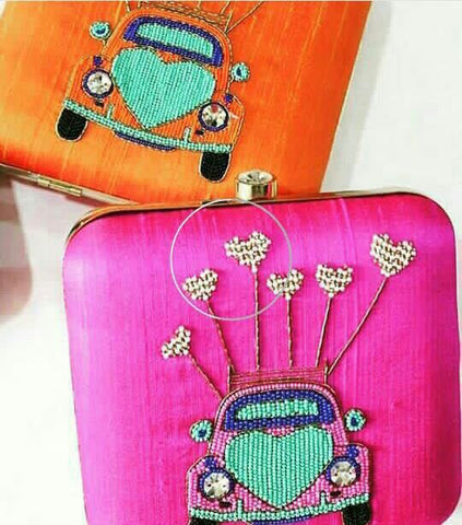 Clemonte love car Zardozi clutch