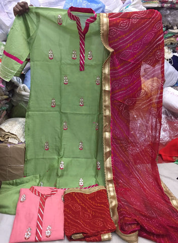 Clemonte Riwaaz chanderi silk suit with bandhej dupatta