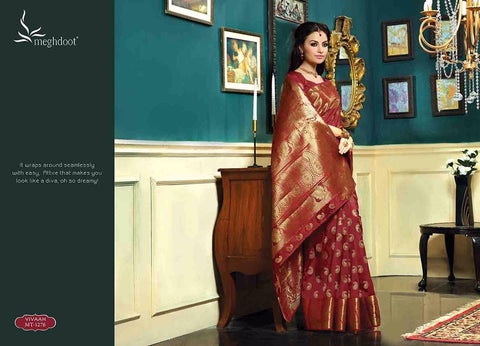 Royal wedding traditional ethnic banarasi silk saree : maroon red