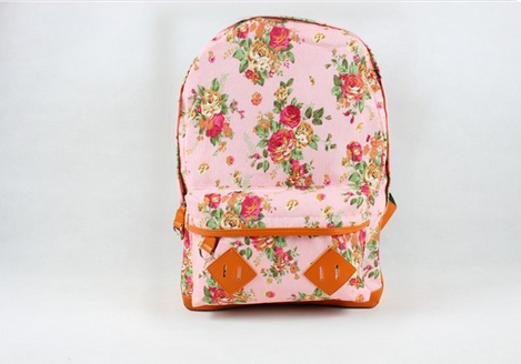 Clemonte Floral Printed Canvas Backpack - Pink