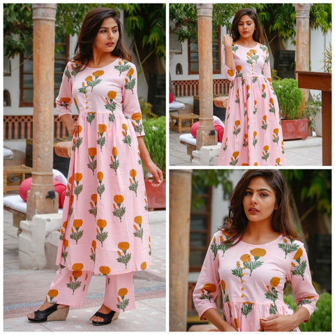 Floral Block print kurta and palazzo set -Pink
