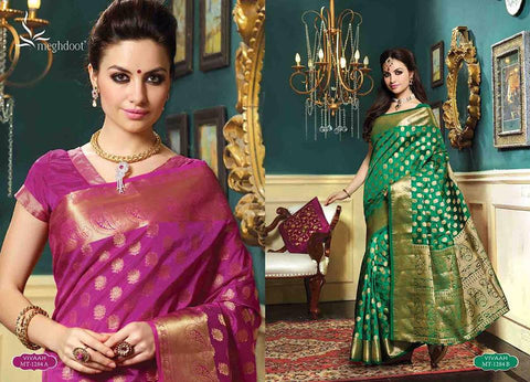 Royal wedding traditional ethnic banarasi silk saree : gold zari