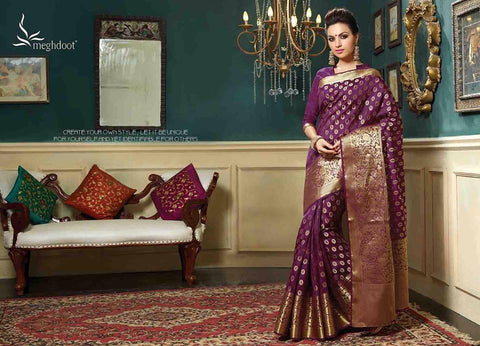 Royal wedding traditional ethnic banarasi silk saree : deep purple