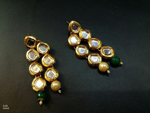Clemonte Viraasat Jewels - Gold Plated Kundan Drop Earrings