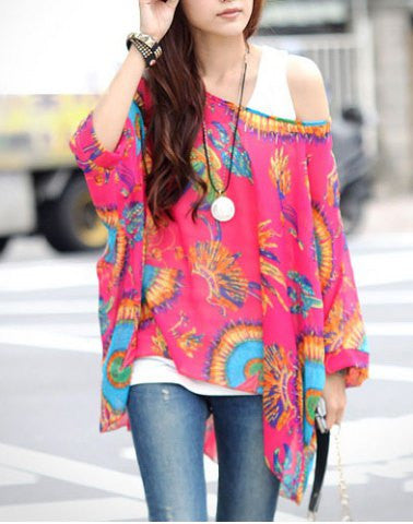 Clemonte Loose fitting printed womens chiffon blouse