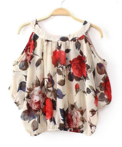 Clemonte Scoop neck off shoulder floral print chiffon women blouse