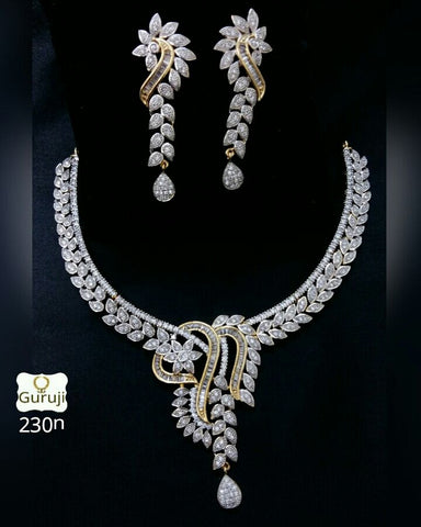 Clemonte Viraasat Jewels - floral drop diamond set