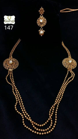Clemonte Viraasat Jewels - Layered golden beads long necklace set