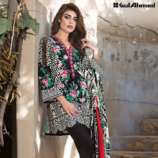 Gul ahmed pashmina collection and silk merino wool winter suit -floral black