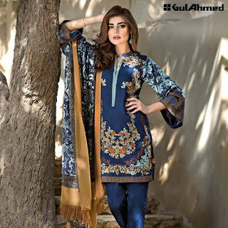 Gul ahmed pashmina collection and silk merino wool winter suit -blue