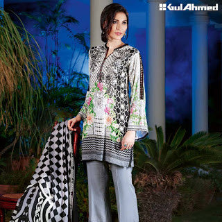 Gul ahmed pashmina collection and silk merino wool winter suit -floral white