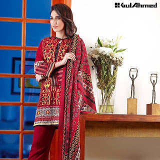 Gul ahmed pashmina collection and silk merino wool winter suit - red