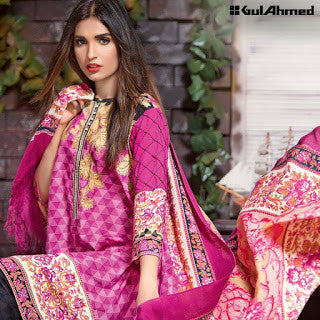 Gul ahmed pashmina collection and silk merino wool winter suit - pink