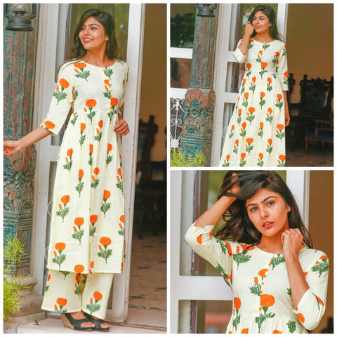 Floral Block print kurta and palazzo set - White